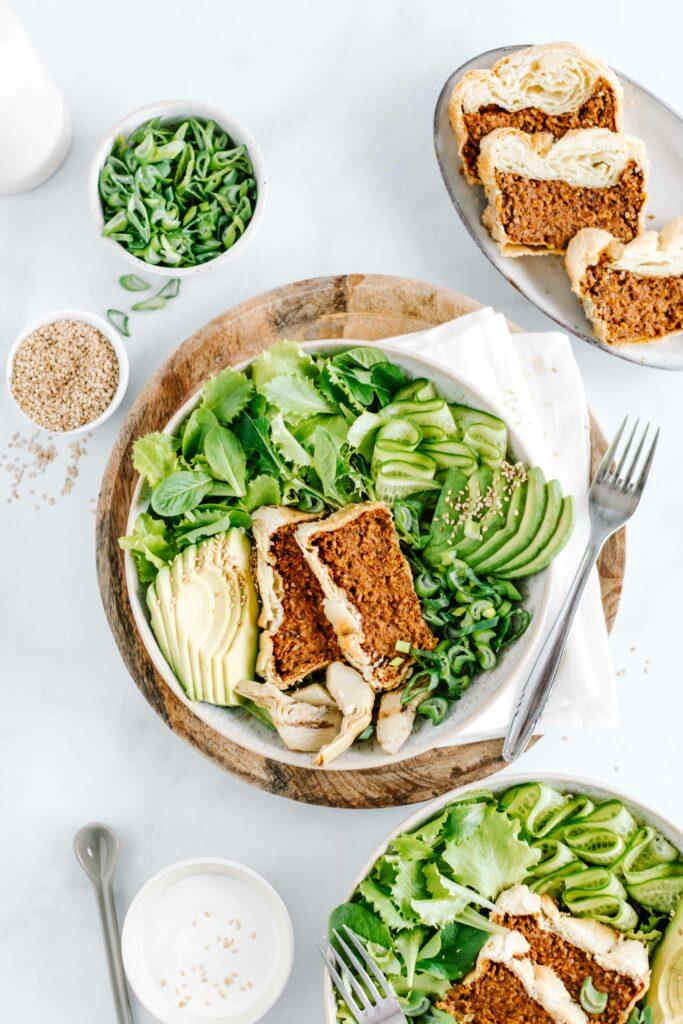 nussbraten bowl vegan rezept